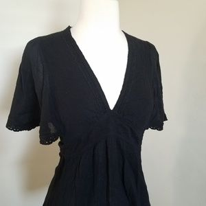 Anthro Odille Black Cotton Flutter Sleeve Blouse 2
